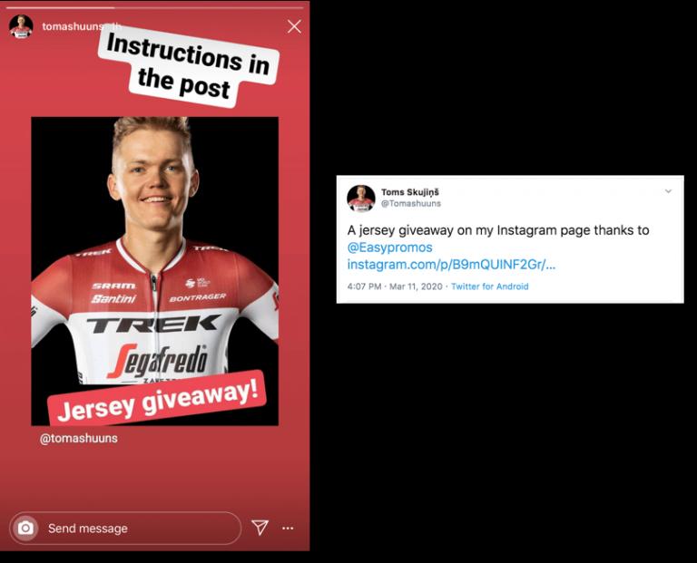 sorteo en Instagram de un deportista foto 4