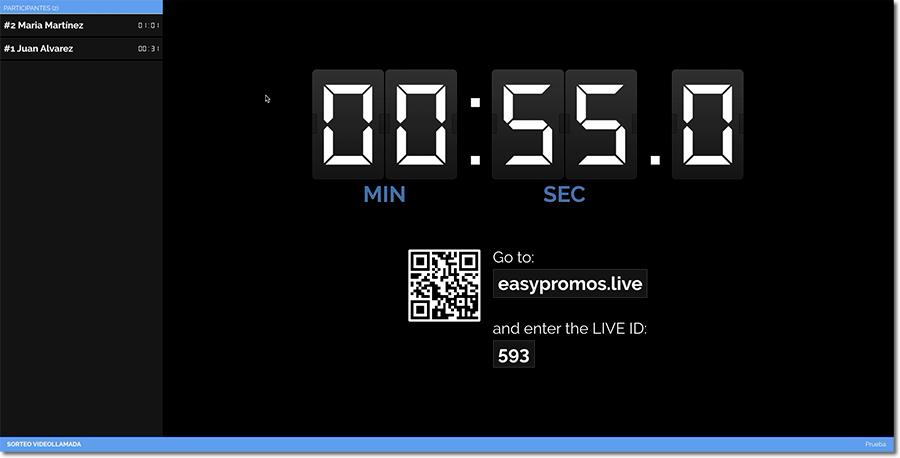 pantalla del sorteo en vivo en una videollamada