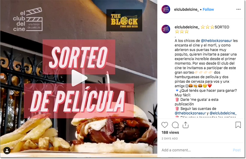 ejemplo de sorteo con video en Instagram