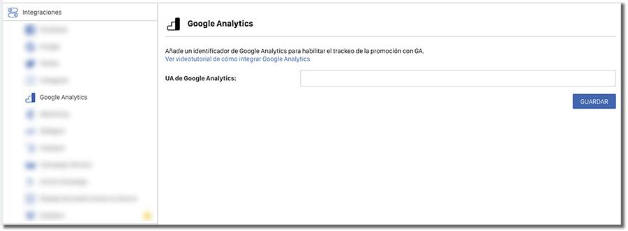 apartado integración con Analytics