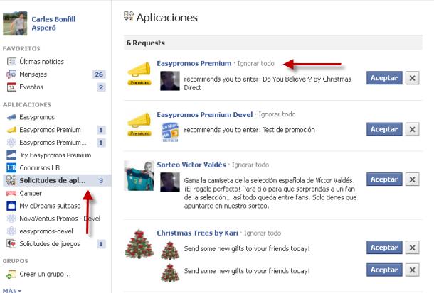 Zona de invitaciones de aplicaciones de Facebook