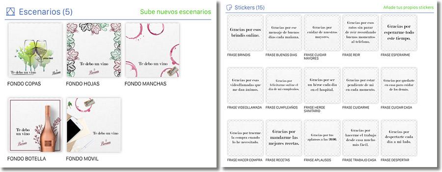 ejemplo de escenarios y stickers de la promoción de Beronia