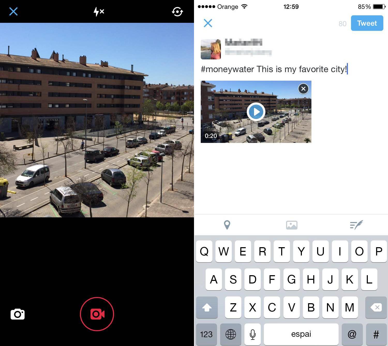 cómo subir un vídeo con Twitter app