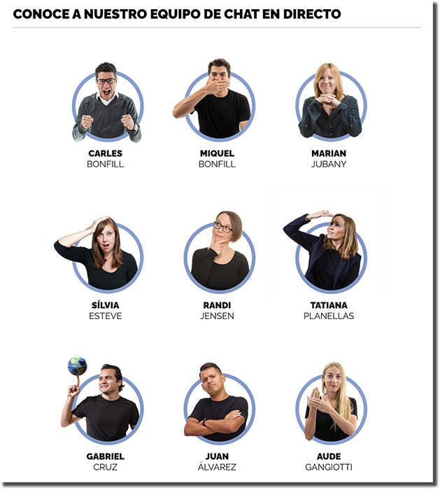 equipo de atención al cliente por chat