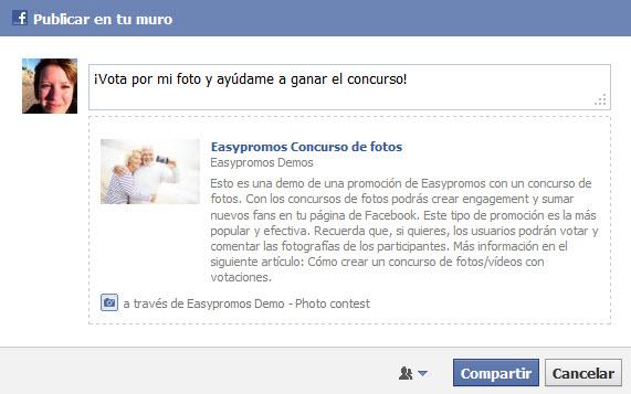 Easypromos - Compartir participacion en facebook