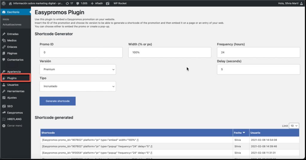 pagina configuracion plugin Easypromos en WordPress