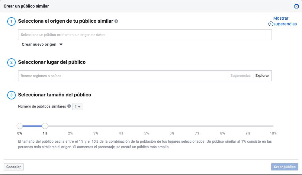 crear publico similar administrador anuncios Facebook