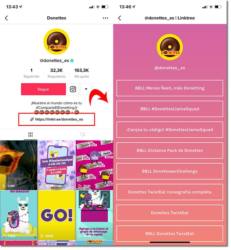 ejemplo de link en TikTok