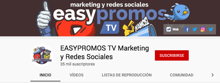 ejemplo canal de influencer - Easypromos TV