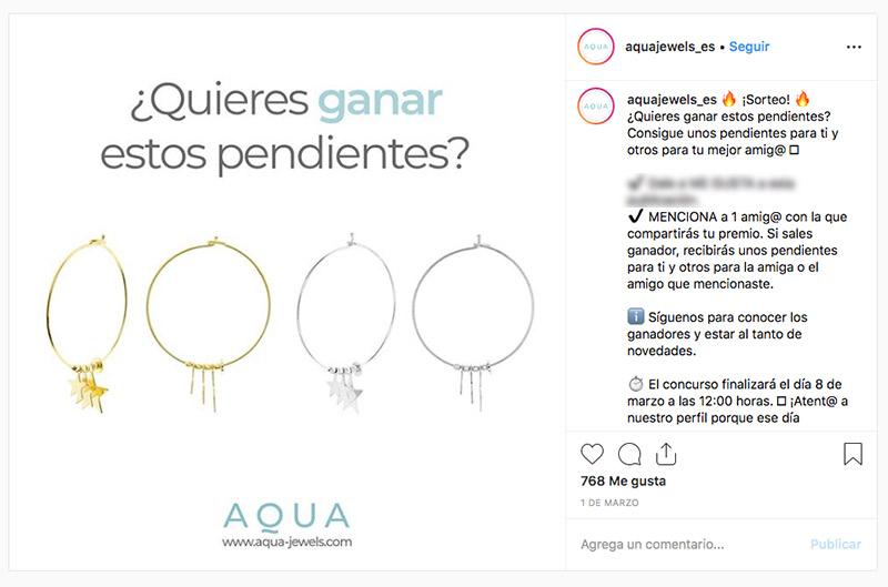 sorteo joyería instagram