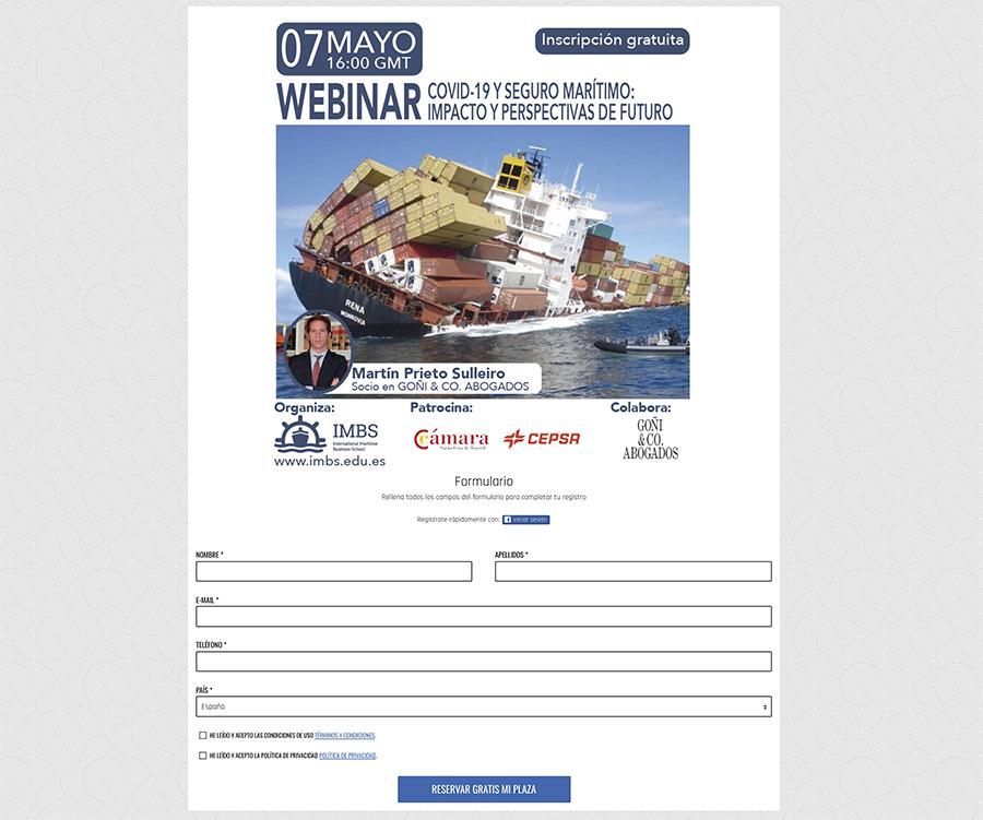 ejemplo de acción promocional con formulario de registro