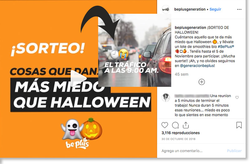 ejemplo de sorteo de halloween en Instagram de Be Plus