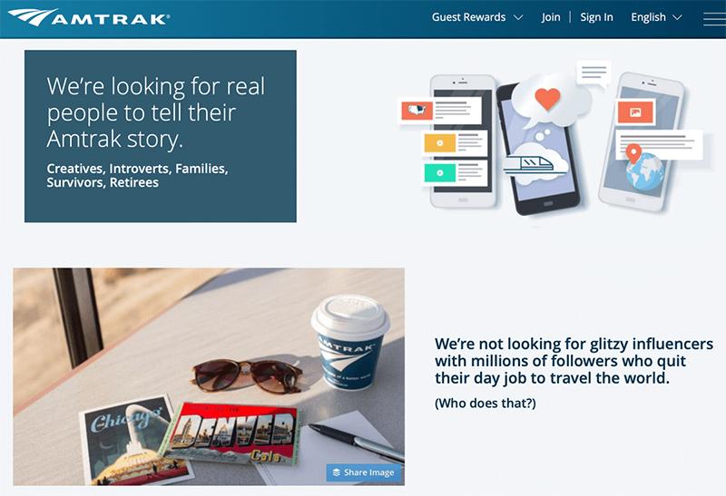 ejemplo concurso de influencers Amtrak