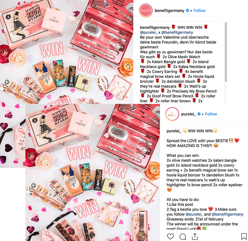 ejemplo post de influencer y post de marca