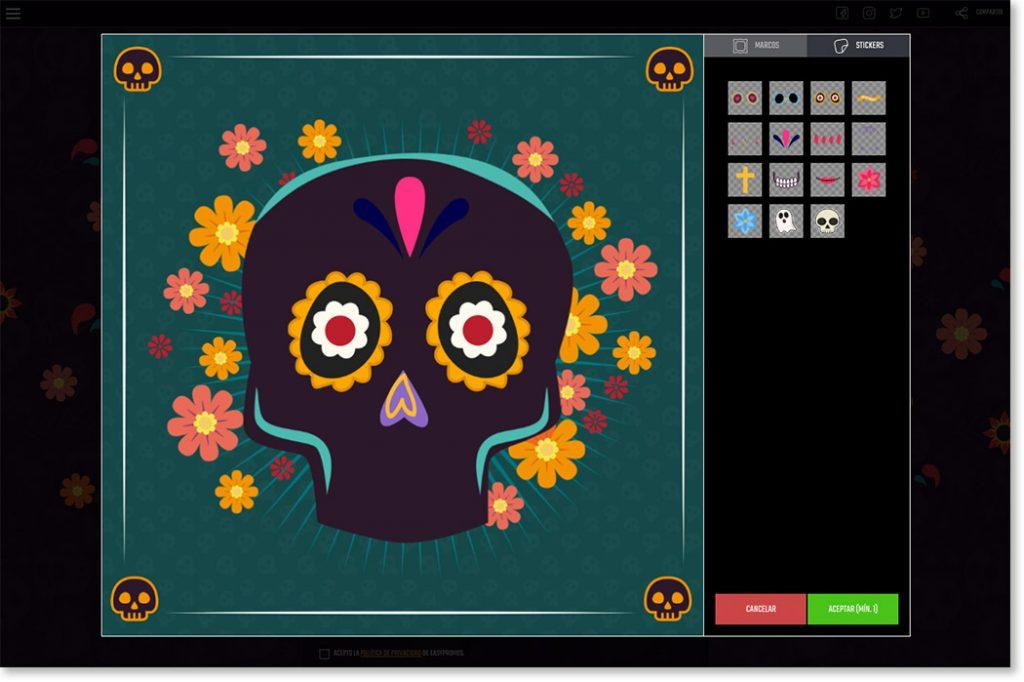 demo de la app escenarios para el Día de Muertos