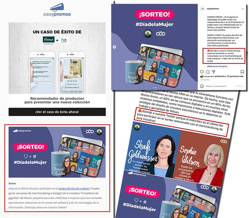 ejemplo de publicaciones en varias redes sociales y newsletter de un sorteo en twitter