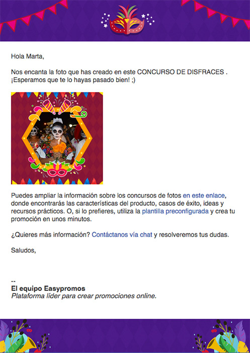 ejemplo de email de carnaval