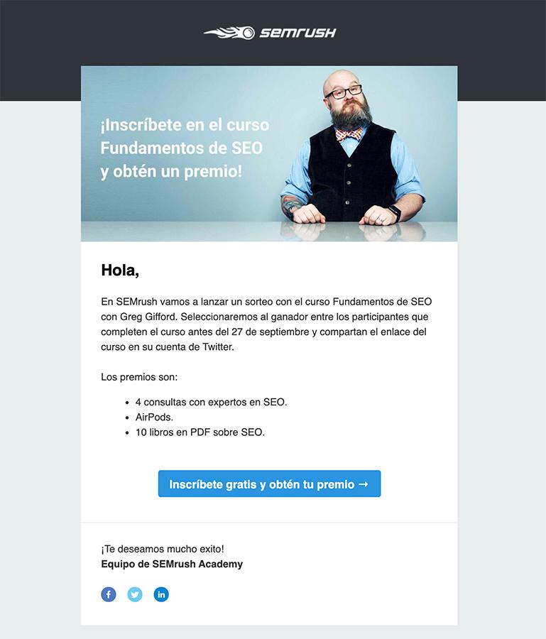 ejemplo de email marketing con sorteo