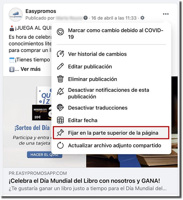 opción fijar post en la parte superior de la página