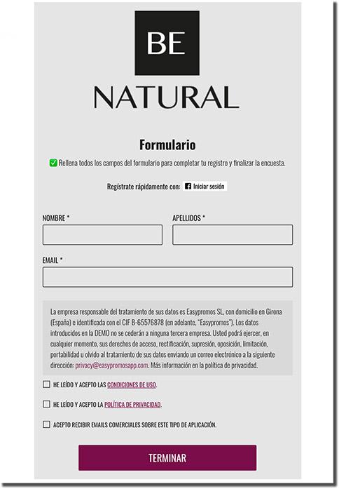 ejemplo de formulario de registro de una encuesta