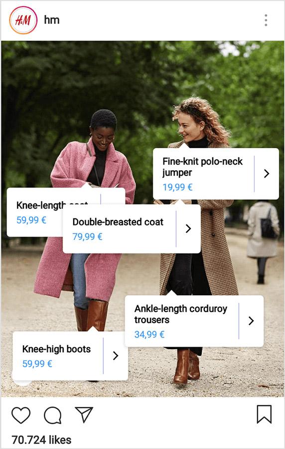 ejemplo de enlaces shoppable
