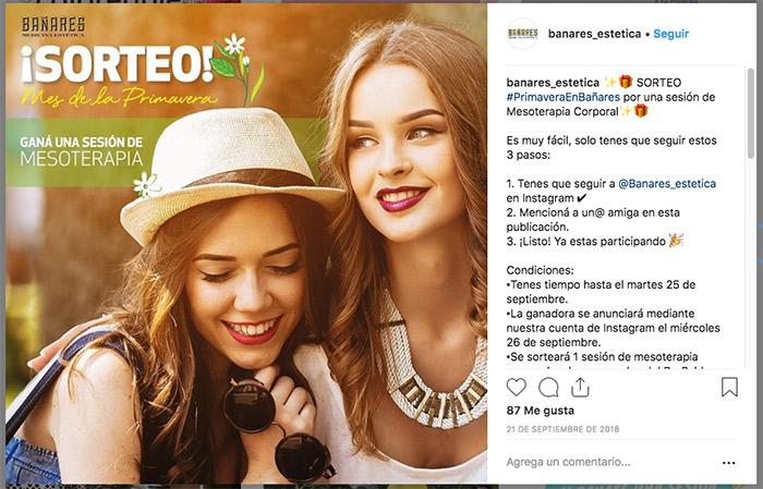ejemplo de cómo hacer un sorteo de primavera en instagram