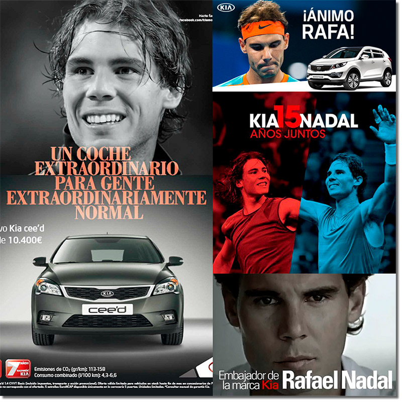 ejemplo de colaboración entre marca y prescriptor conocido - Kia y Rafa Nadal