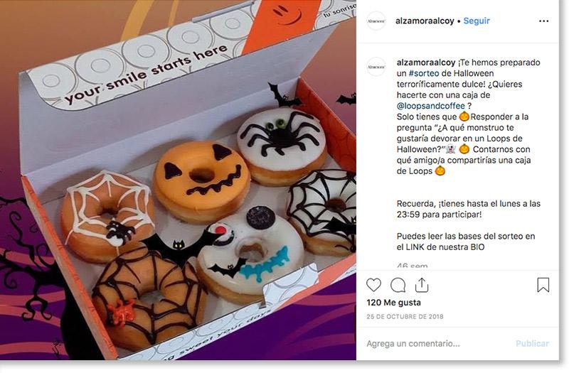 ejemplo de sorteo de Halloween en Instagram de Alzamora Alcoy