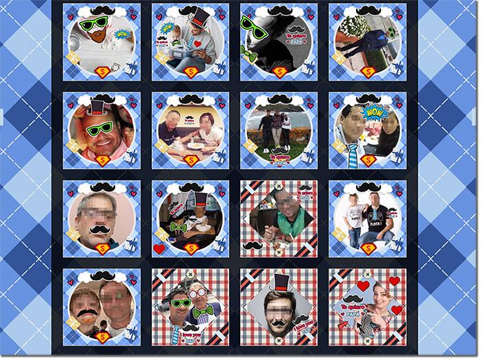 ejemplo de concurso de fotos con marcos y stickers para el día del padre