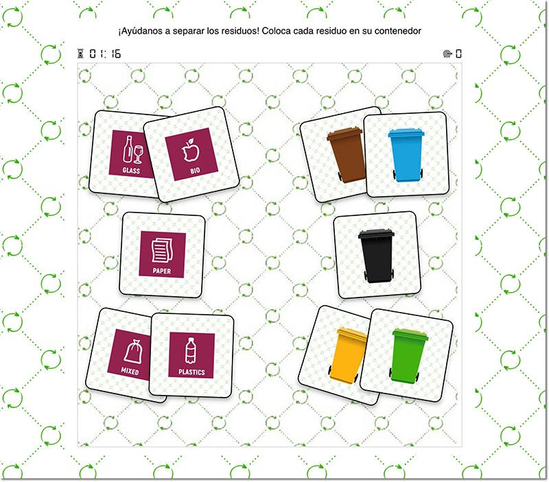 ejemplo de juego relaciona parejas de temática reciclaje