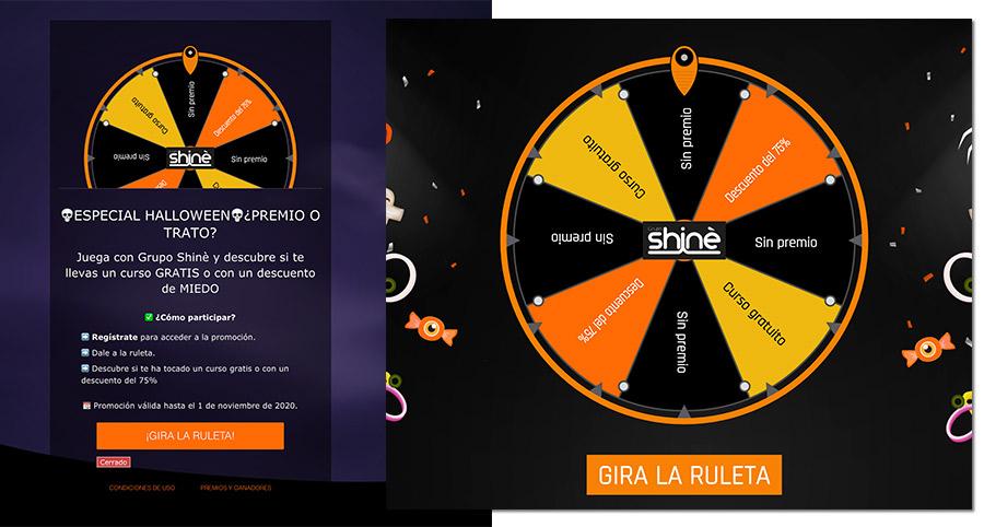 ejemplo de posicionamiento de marca a través de una ruleta de premios