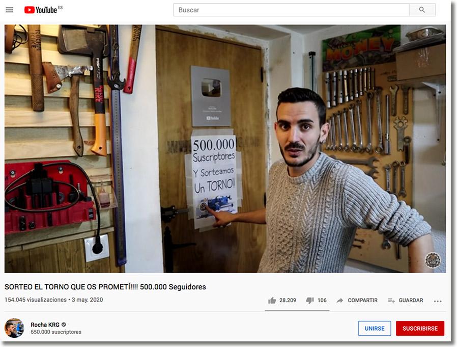 ejemplo de sorteo en youtube para aumentar las visualizaciones de un vídeo