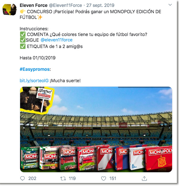 ejemplo de sorteo de comentarios en Twitter