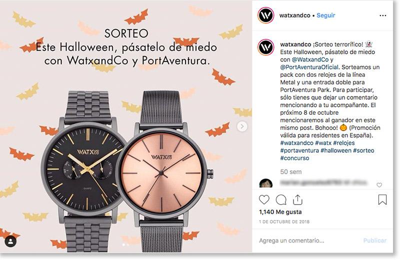 ejemplo de sorteo de Halloween en Instagram de Watx