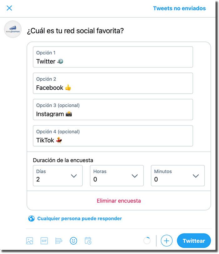 ejemplo de encuesta en Twitter