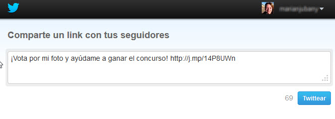 Easypromos - Enviar un tweet con la participacion