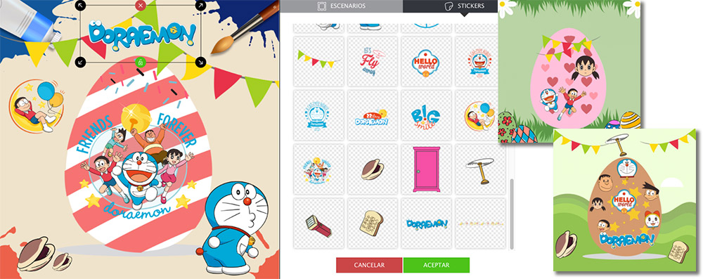 ejemplo de promoción interactiva con escenarios de Doraemon