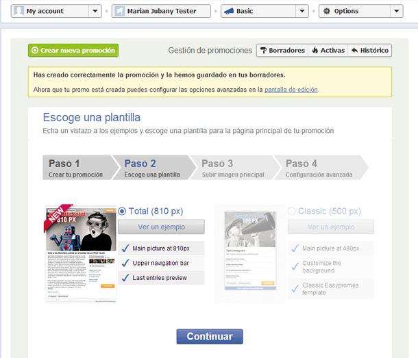 Easypromos - Escoger plantilla