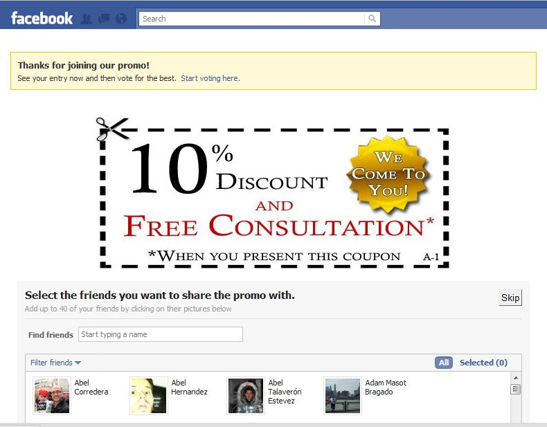 Example of a coupon displayed in Facebook using Easypromos Basic