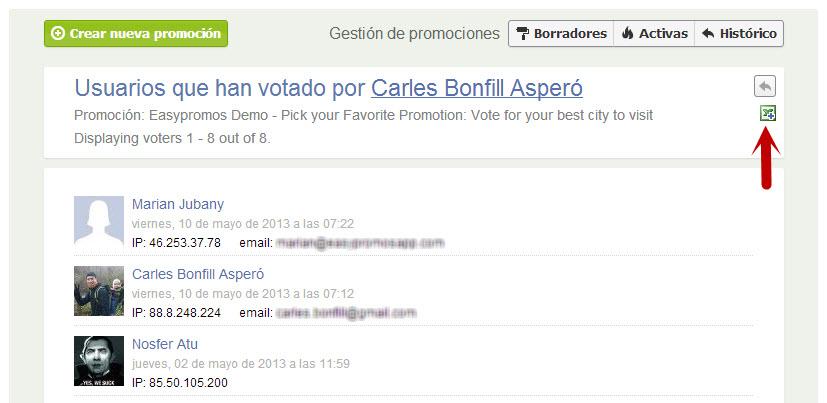 Easypromos - Exportar listado votantes