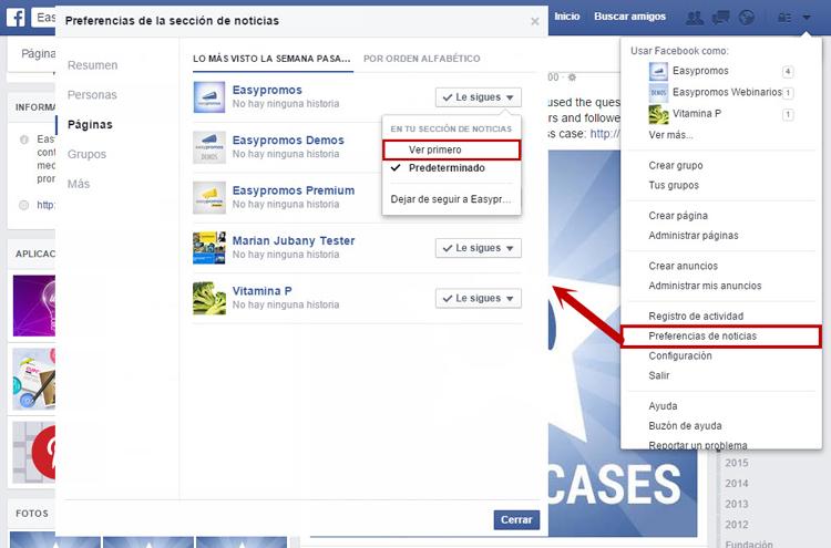 facebook ver primero ordenador