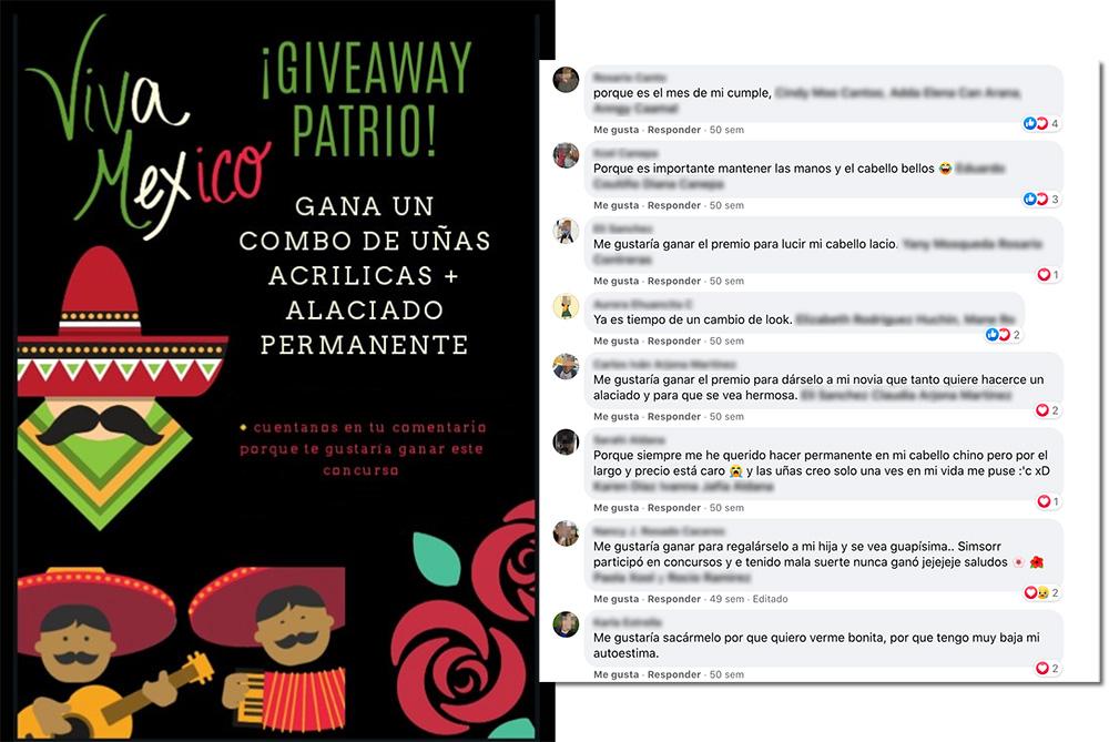ejemplo sorteo en Facebook para celebrar el mes de la patria