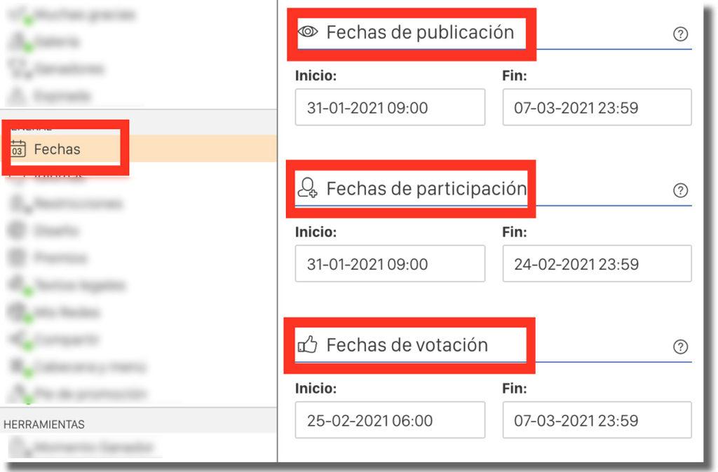 gestión de las fechas del concurso de vídeos