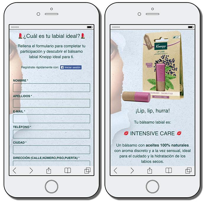 fomrulario de registro promoción kneipp y mensaje final con producto recomendado