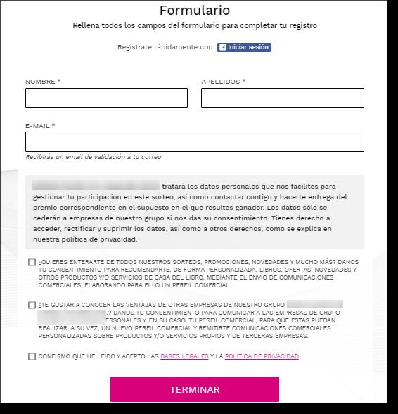 formulario captacion datos sorteo registro