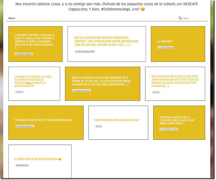 ejemplo de una galería con los textos participantes a un concurso