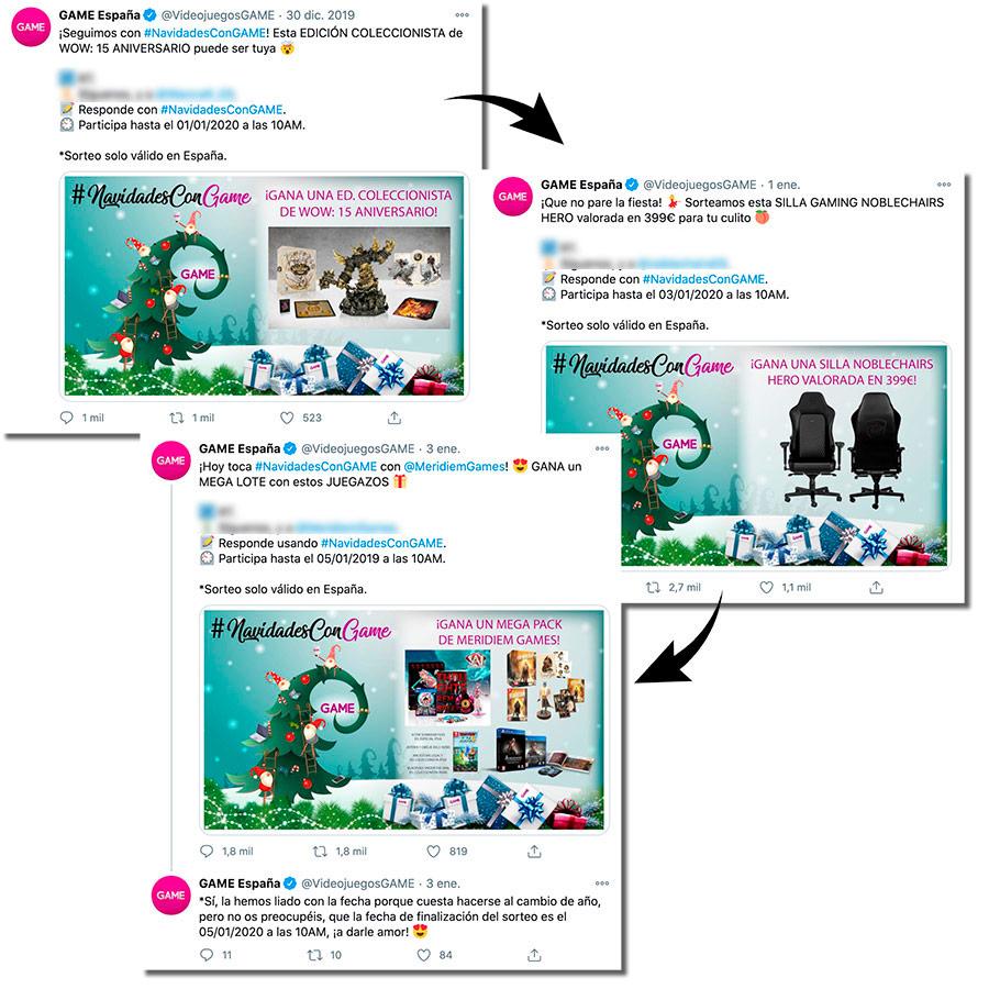 ejemplos de sorteos de Navidad en Twitter de GAME