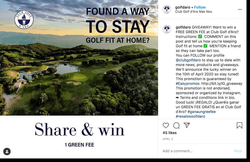ejemplo de sorteo en instagram para retener clientes