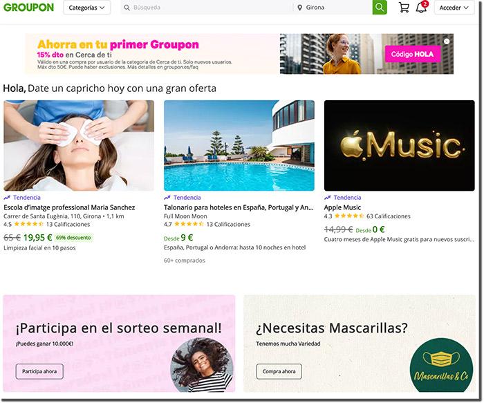 ejemplo de directorio de ofertas o página web de sorteos
