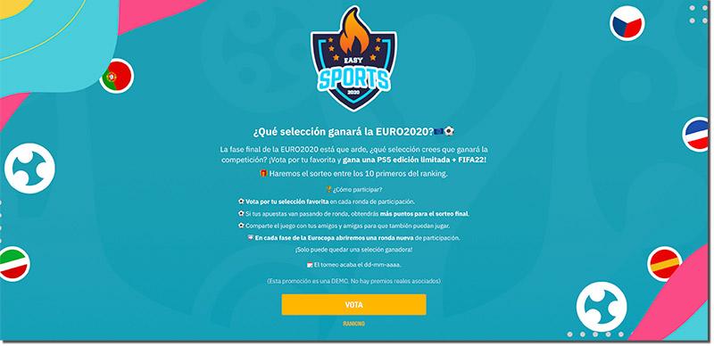 página principal de una promoción para la Eurocopa